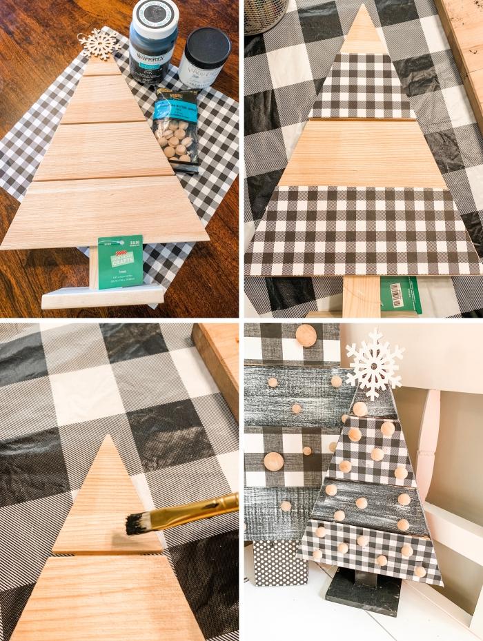 idee deco sapin de noel avec papier scrapbooking et peinture noir et blanc à effet bois vintage avec mod podge