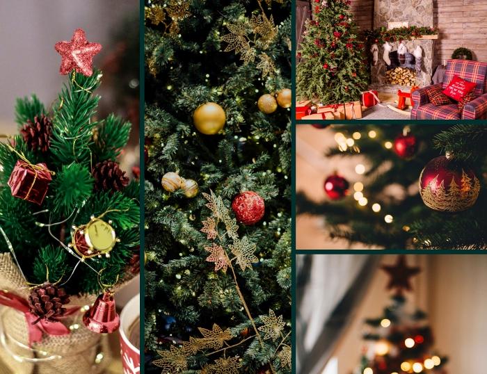 décoration sapin de noel tendance classique, mini sapin décoré avec étoile rouge glitter et petites pommes de pin