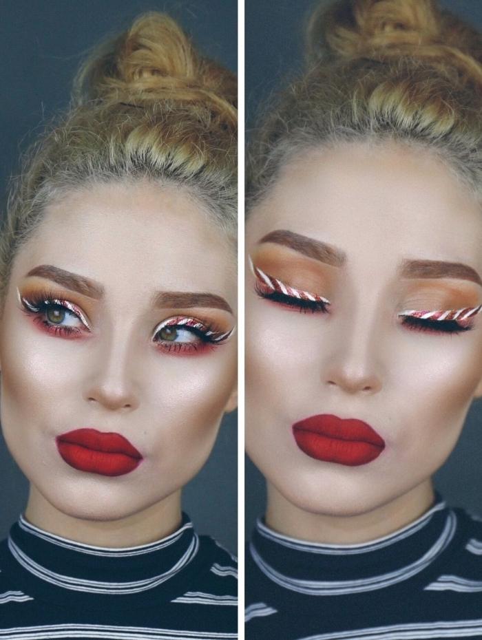 tuto make up facile à réaliser pour Noël, exemple de maquillage festif pour Noël avec eye-liner bonbon et lèvres mat