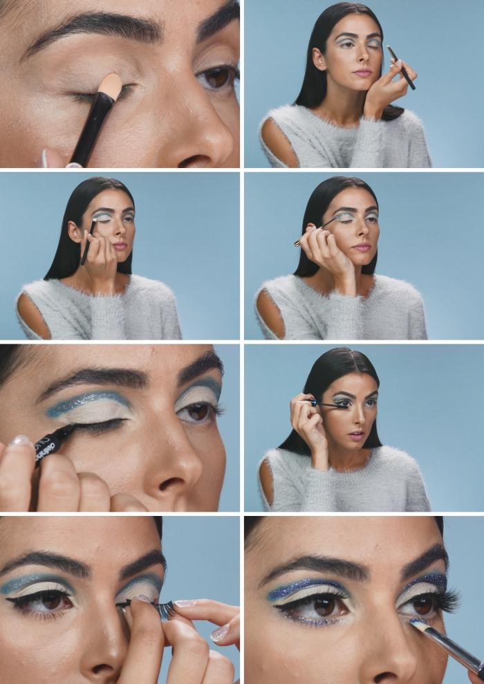 tutoriel pour makeup noel brillant et festif, pas à pas pour réaliser un maquillage des yeux avec crayon glitter bleu