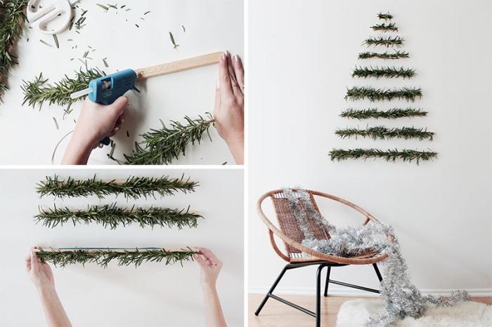 exemple comment décorer ses murs pour Noël de style minimaliste, DIY décoration de noel à fabriquer en bois