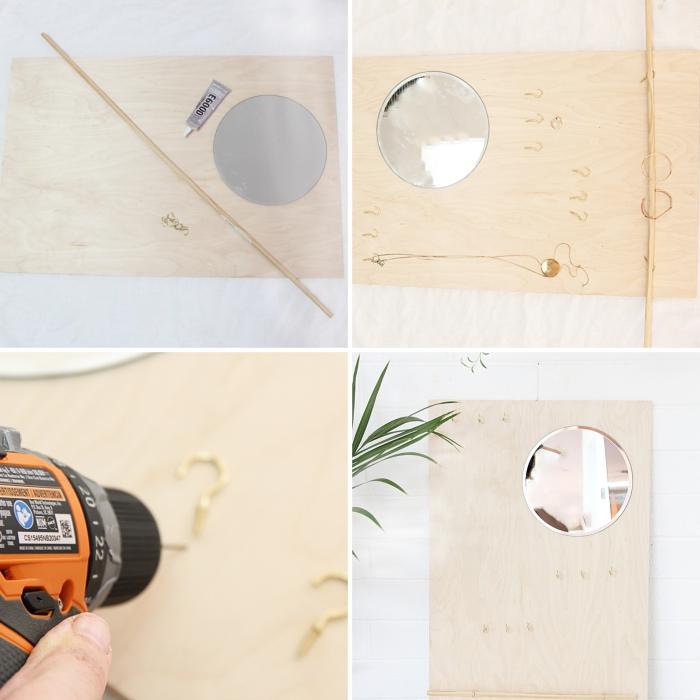 étapes à suivre pour réaliser un porte bracelet et collier, diy rangement pour bijoux fait maison avec planche bois et miroir