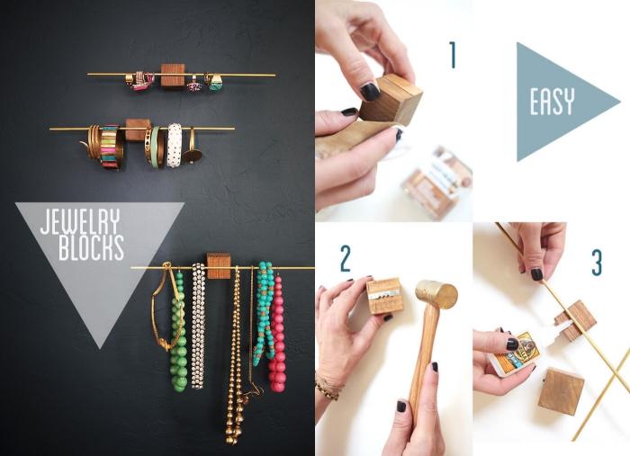décoration chambre femme avec objets fait main, exemple comment réaliser un porte bijoux mural avec bâtons et cubes bois