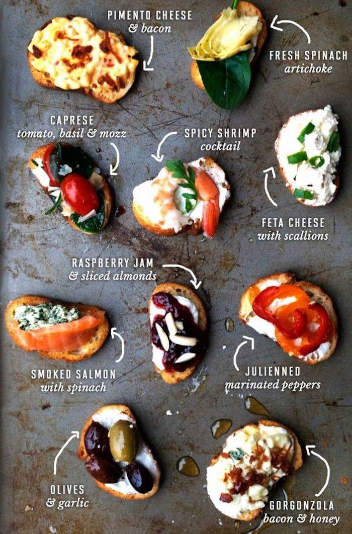 Comment garnir son toast apero assaisonné d'huile d'olive, idée toast garni pour les fêtes d'hiver