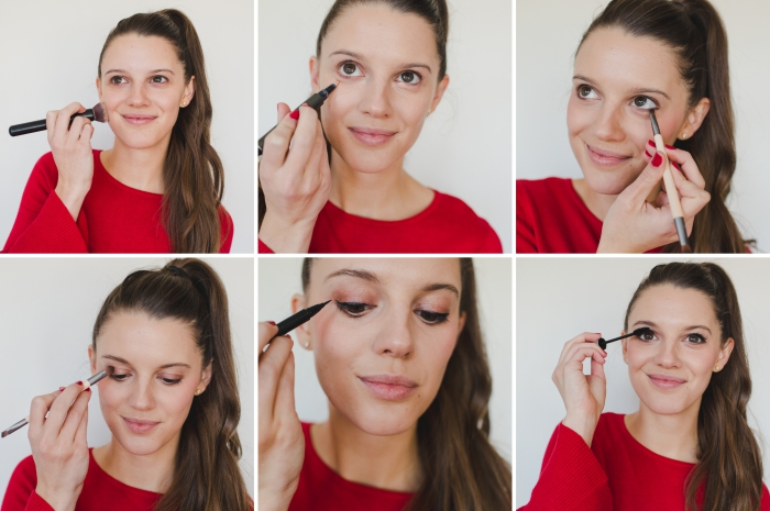 pas à pas pour réaliser un maquillage simple pour la fin d'année, look noël avec ombres à paupières dorés et eye-liner