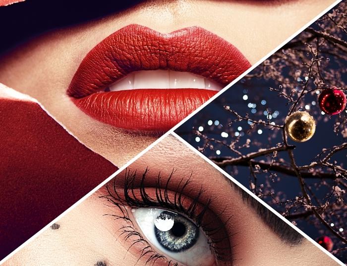 comment bien se maquiller pour les fêtes de fin d'année, idée maquillage avec rouge à lèvre rouge mat pour Noël