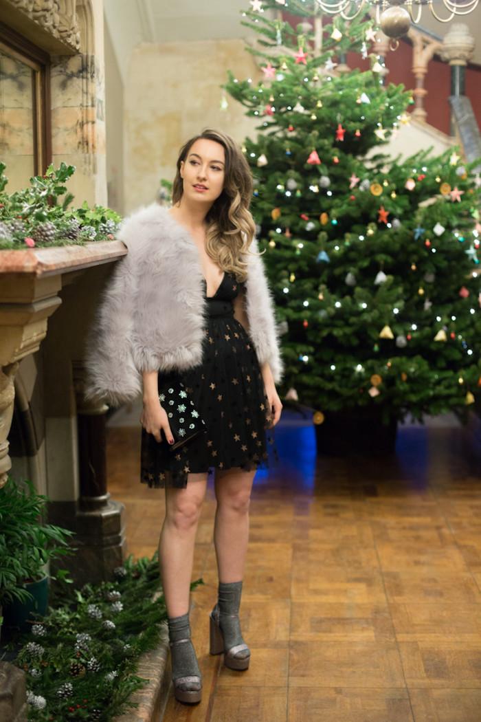 Fausse fourrure manteau courte et robe noire noel, robe classique parfaite pour les fetes