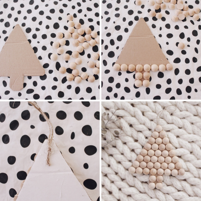 idée deco de noel a faire soi meme, comment réaliser un ornement de Noël en forme de sapin avec carton et perles de bois