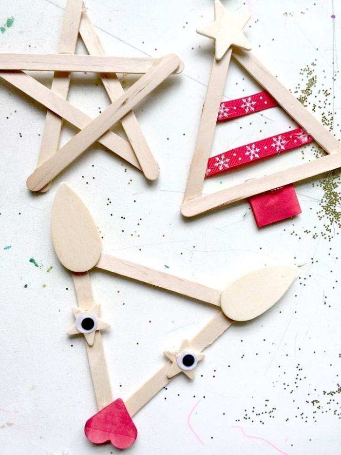 activités manuelles noel, objets de déco pour noêl fait maison en bâtons de glace, diy créations en popsicles pour noel