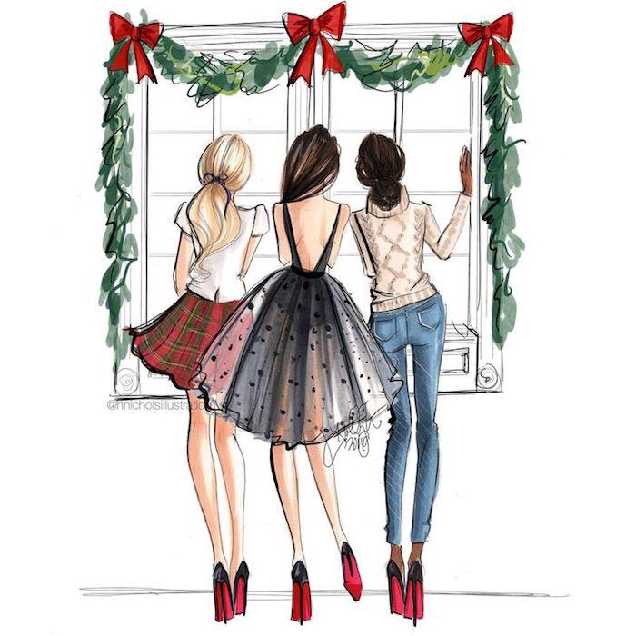 Trois filles bien habillées, dessin de fille, idée dessin à essayer à récréer soi meme, image de noel