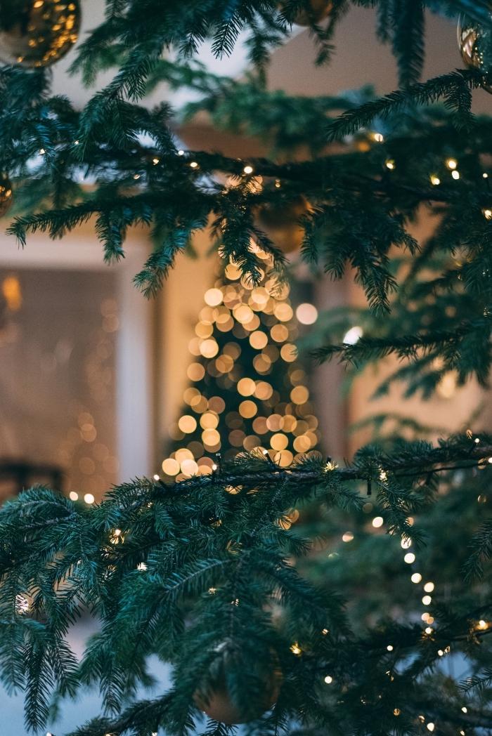 idée image joyeux noel 2019 pour wallpaper iphone, photographie fête de Noel avec branches de sapin et lumières