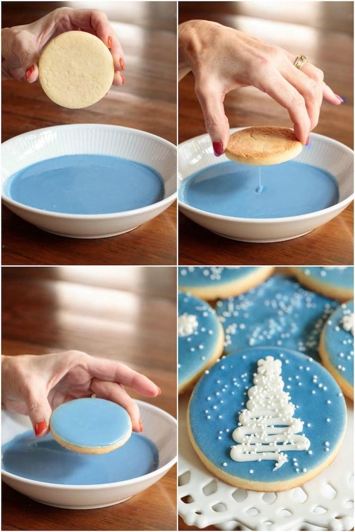 comment dessiner motif sapin de noel sur sablé de noel., idee de gâteau de noel avec decoration de glaçage bleu et motif sapin de noel blanc et perles de sucre blanches