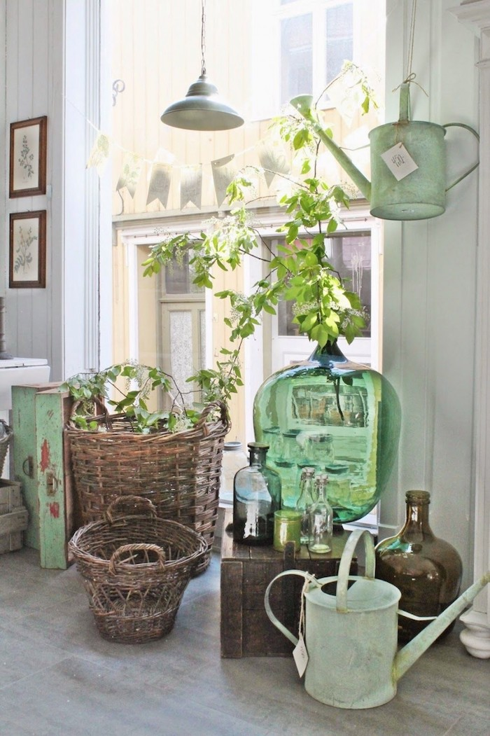 Grand vase décoration d'intérieur, diy déco chambre chic, composition coin rustique dans appartement moderne