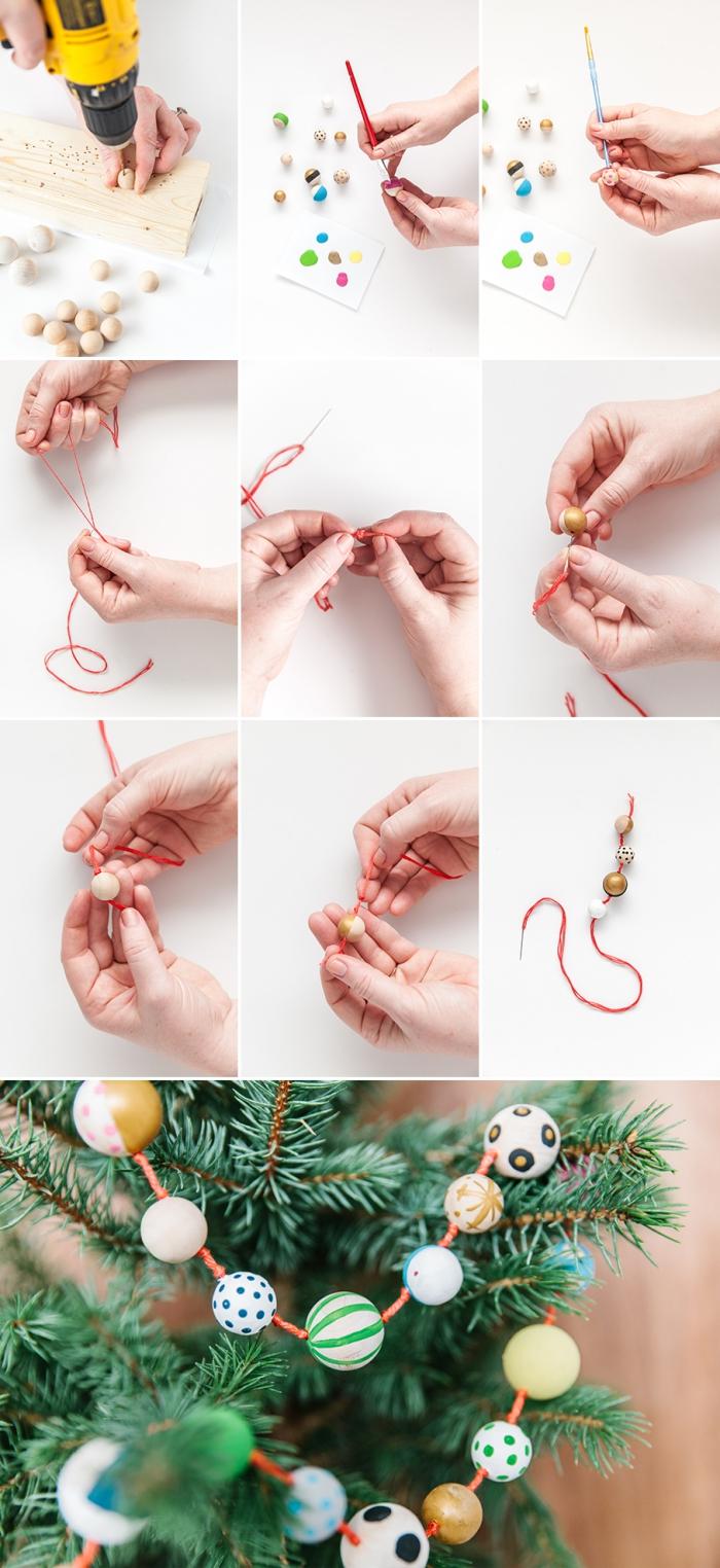 pas à pas pour réaliser une guirlande de Noël en perles de bois, decoration noel a faire soi meme avec perles de bois