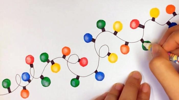 Dessin facile a reproduire, bulbes de guirlande lumineuse coloré dessin noel original et très beau