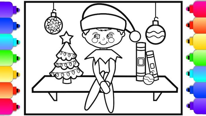 Dessiner un elf adorable, coloriage de noel pour enfant, retracer les lignes ou telecharges pour colorer apres