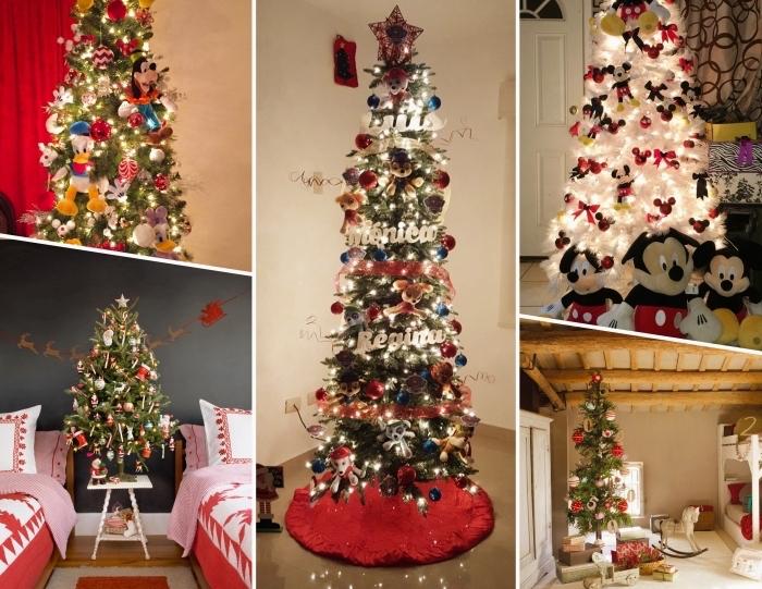 petit sapin de noel pour chambre d'enfant décoré avec figurines de Noël et ornements personnages de Disney