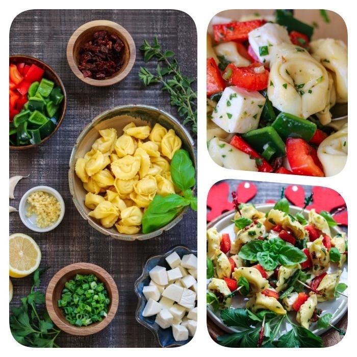 fair eune brochette apero noel facile avec tortellini, mozzarella, tomates séchées et légumes, apero dinatoire original