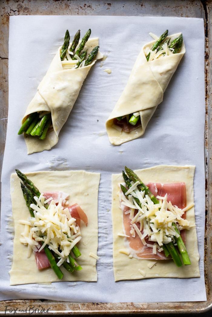 feuilleté apéro au prosciutto, asperges et fromage, idée recette entree noel et apero simple a faire