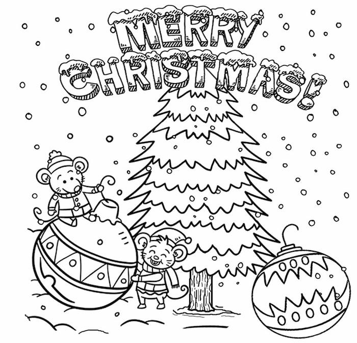 Joyeux Noël carte de voeux, souris sur boule de noel, idée dessin noel, sapin de noel dessin à colorer
