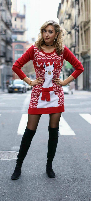 Robe pull rouge avec dessin de lama blanche avec écharpe rouge, idée tenue pour le jour de noel