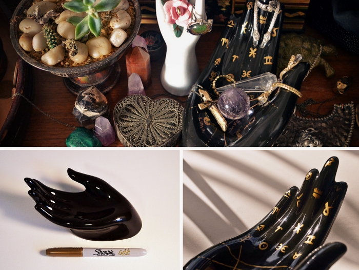 comment customiser un porte bijoux avec marqueur doré, idée objet de déco ethnique à réaliser soi-même, rangement colliers en noir et or
