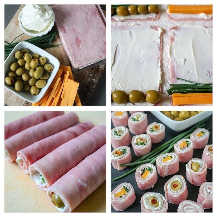 roulé de jambon avec des olives vertes, fromage à la crème, cheddar et ciboulette, entree reveillon