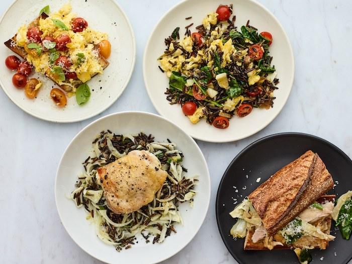 recettes faciles pour le soir, quatre exemples de repas pour votre menu de la semaine équilibré avec du riz, poulet, et autres ingredients