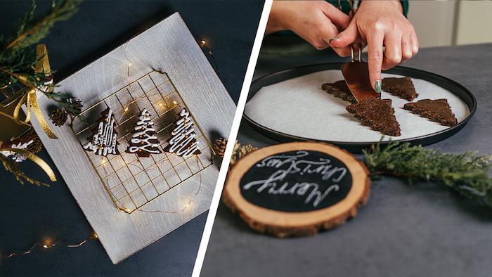 cookies maison, recette pain d épice mini sapins de noel décorés au glaçage royal et perles dorées