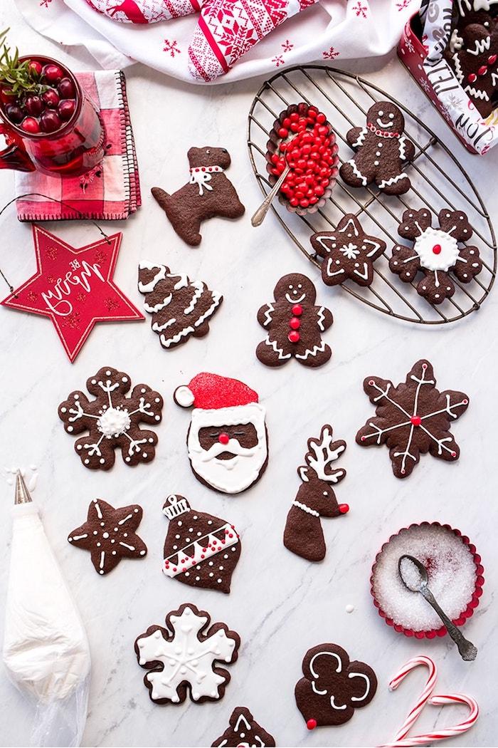 biscuit de noel au cacao avce glaçage royal blanc et deco rouge pour creer des motifs de sablés flocon d avoine, pere noel, renne de pere noel, etoile