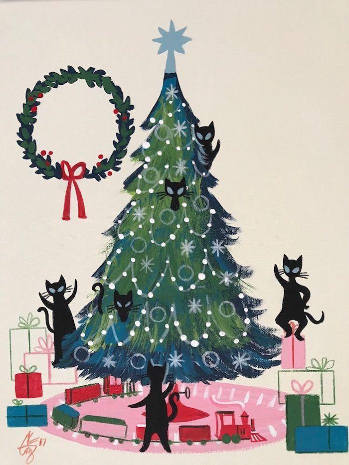 Arbre bien rangé dessin renne de noel, dessin traineau pere noel original, chats noirs autour le sapin de noel