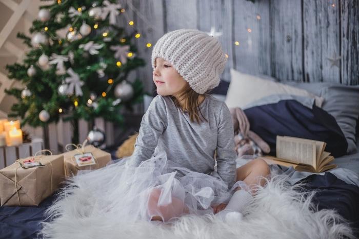 idée fond d'écran pour ordinateur sur thème cozy Noel, photo d'enfant entouré de cadeaux Noël devant un sapin décoré