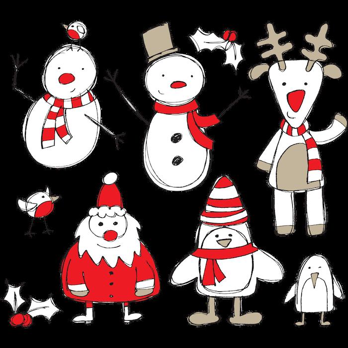 Le père Noël, un cerf, un bonhomme de neige, esquisses dessin de noel en couleur, coloriage de noël cool idée, comment faire un pere noel facile