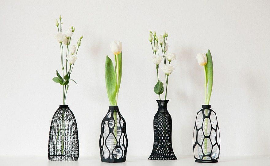 Dame-jeanne déco à composer soi-même, belle décoration printer 3d, vase DIY avec fleurs de printemps
