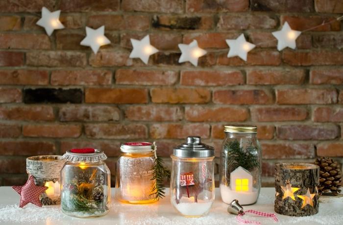 décoration de noel à fabriquer gratuit, modèle de bougeoir Noël fait main avec bois, diy objets de déco pour Noël