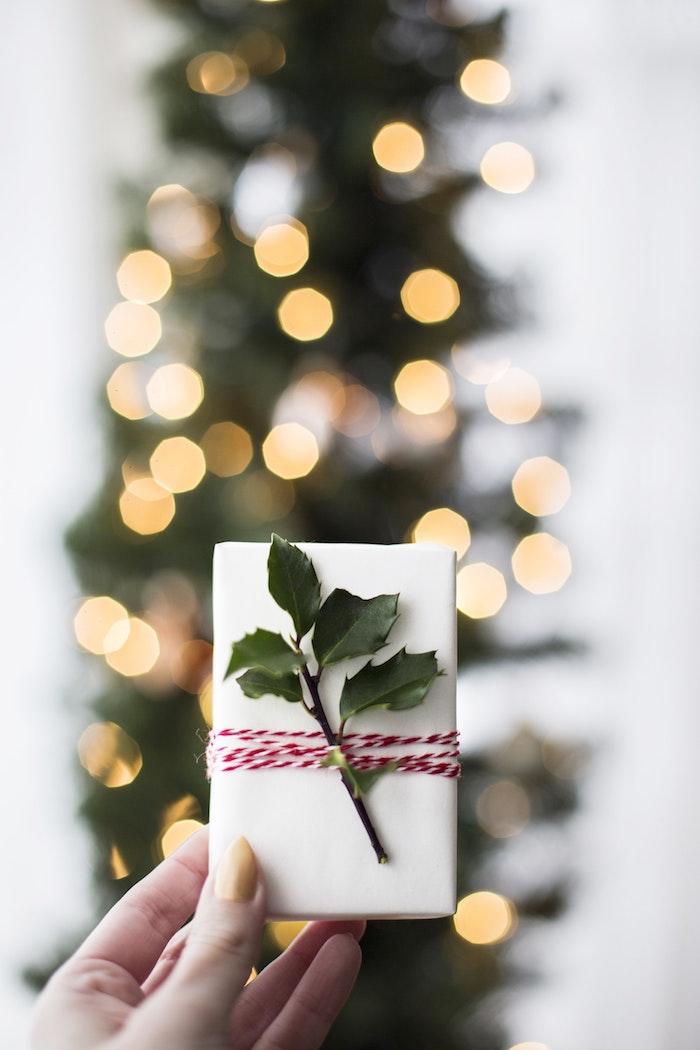 Cadeau de Noël bien emballé, photo sapin de noel avec guirlande lumineuse pour décoration, idée cadeau parfum