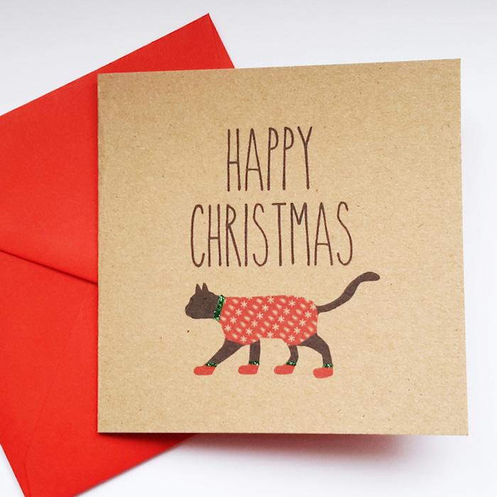 Chat avec costume pour noel, idée carte joyeux noel, coloriage noel maternelle, dessin festive facile a reproduire