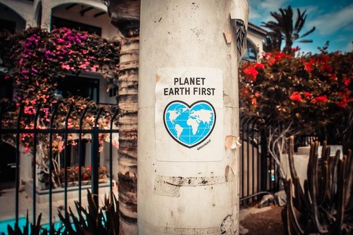 Trouver une application évalue les dégâts, changement climatique, nouvelle sur l'écologie, photo grande maison avec beaucoup de fleurs