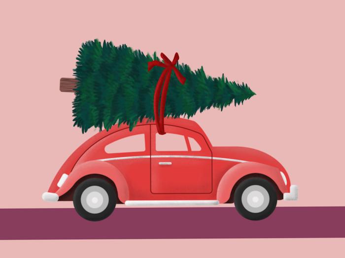 Voiture rouge avec arbre de noel sur le toit, dessin traineau pere noel, coloriage noel disney simplifié