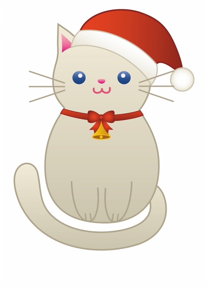 Chat adorable avec chapeau pere noel dessin, dessin de noel facile a reproduire