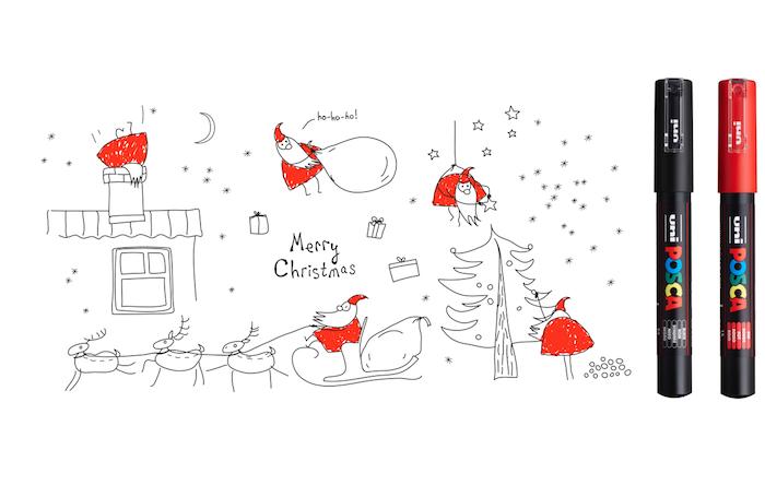 Rouge et noire image simple à retracer, dessin renne de noel, apprendre a dessiner, reproduction pere noel avec le traineau et les rennes