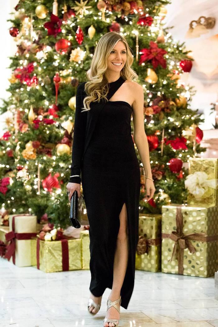 Robe noire moulante noire à grande fente, tenue noel femme, image robe de noel robe pour femme chic