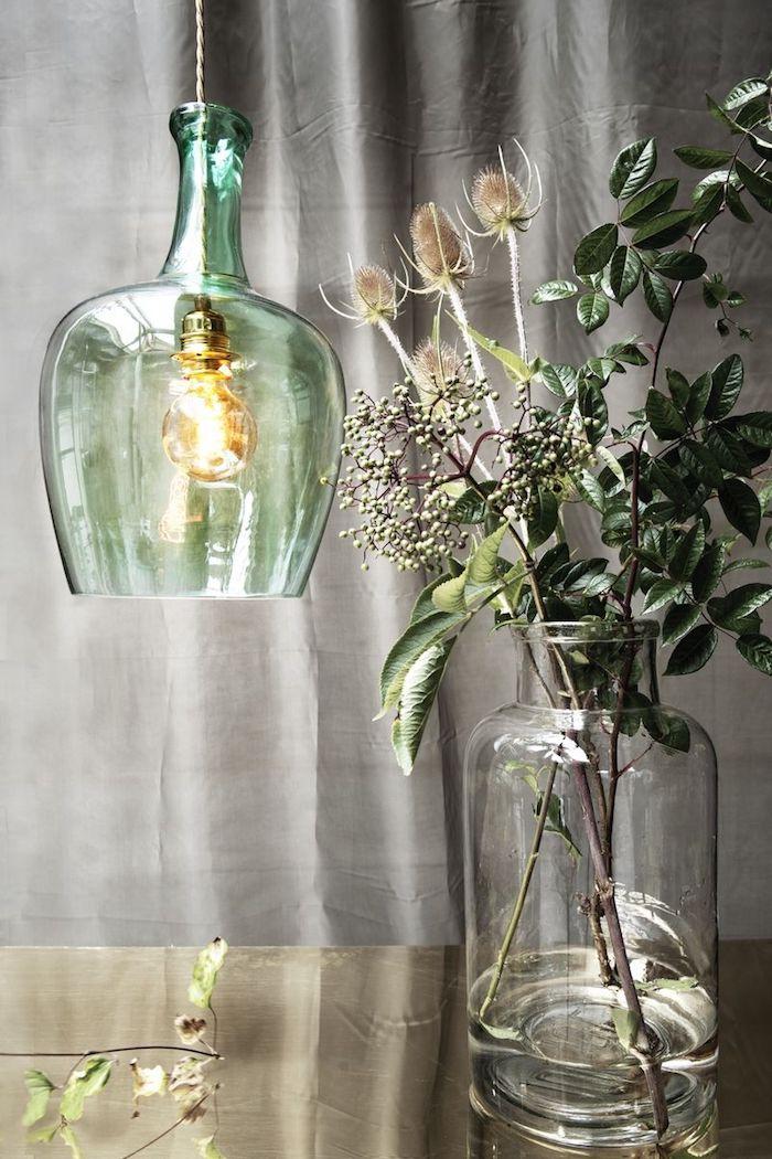 Lustre de grand vase décoration d'intérieur, déco salon salle à manger, intérieur moderne vase en verre et lampe en verre