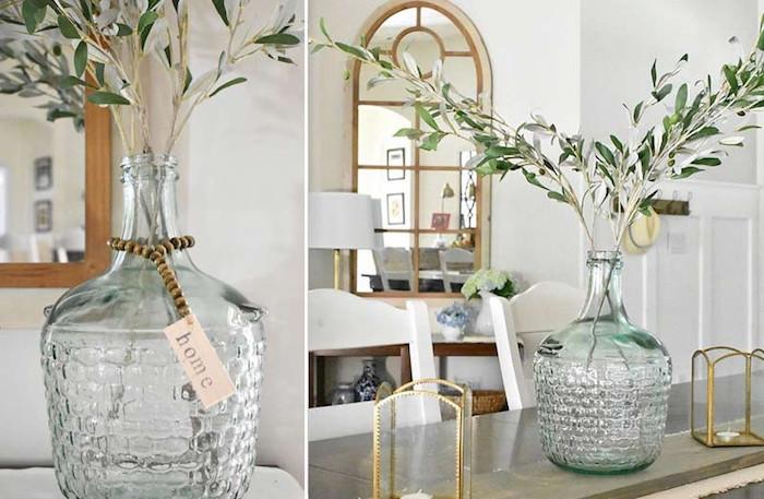 Branche d'olive décoration dame-jeanne, deco salon a faire soi meme avec recup, idée décoration diy