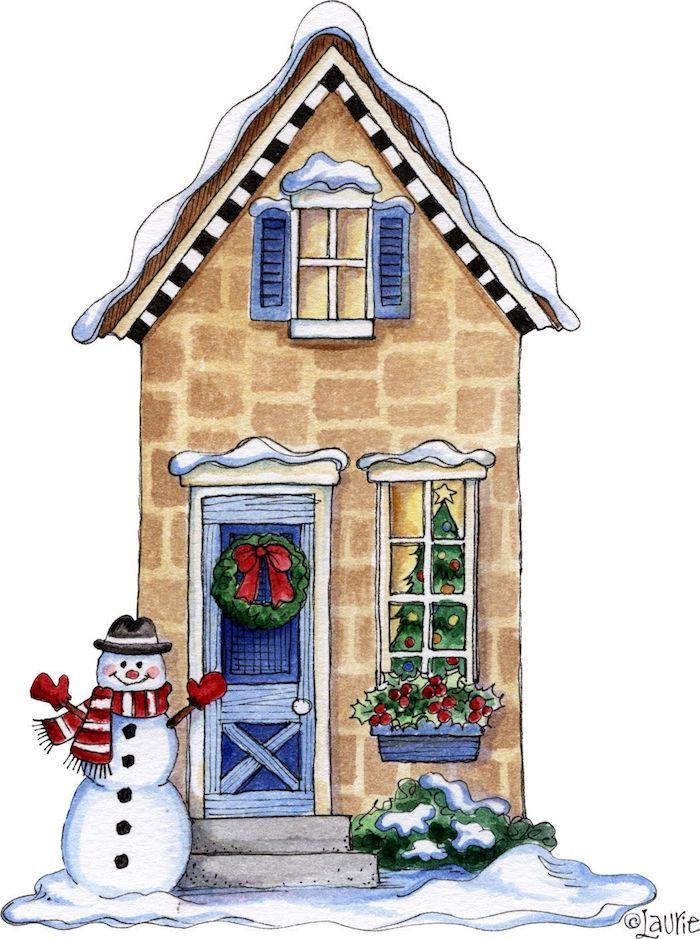 Maison haute avec bonhomme de neige devant, dessin de noel simple en noir et blanc, image coloriage noel,