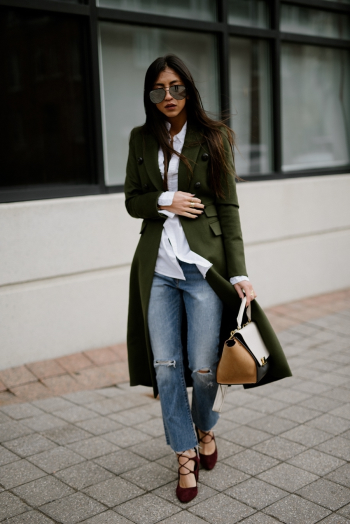 idée style vestimentaire au travail pour femme 2019, couleurs tendances pour mode automne hiver 2020 nuances de vert