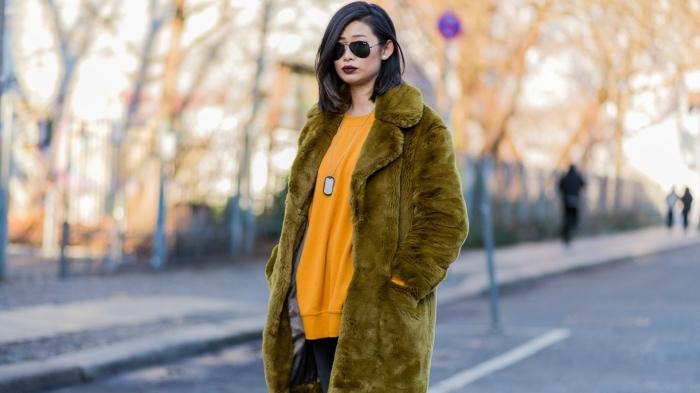 exemple comment assortir les couleurs de ses vêtement en hiver, vetement femme tendance de couleur vert olive