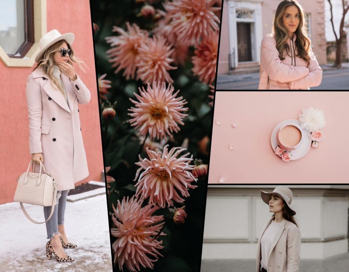exemple de tenue hiver femme en couleurs pastel et neutres avec jeans gris clair et manteau rose pastel avec sac à main nude