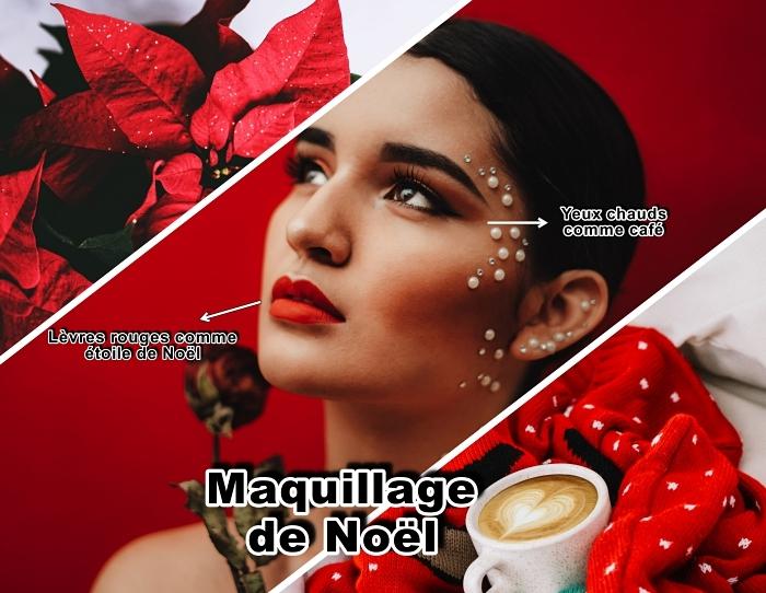 apprendre a se maquiller, idée comment réaliser un maquillage de Noël avec fards à paupières marron et lèvres rouge mat