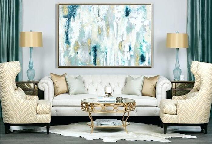 Moderne salon en beige et bleu, idée diy déco chambre, deco dame jeanne composer soi-même